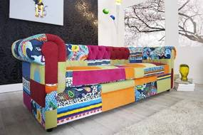 Sofa Chesterfield Patchwork farebná