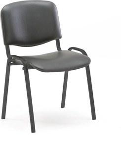 Konferenčná stolička Nelson, čierna koženka / čierny podstavec