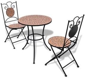 Mozaikový stôl tehlovej farby 60 cm s 2 stoličkami