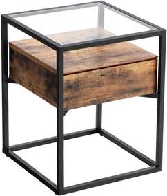 VASAGLE Odkladací stolík so zásuvkou sklenená doska 43x43 cm