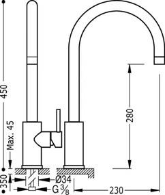 MAX-TRES Drezová jednopáková kuchynská batéria MAX-TRES (162540)