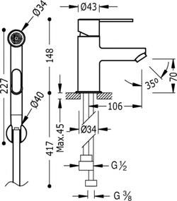 LEX-TRES Jednopáková batéria pre umývadlo na WC, spŕška (181113)
