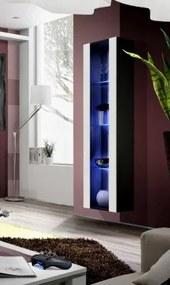 Fly - vitrína, 3x polica, LED (čierny mat/biely lesk
