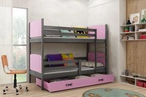 Poschodová posteľ - TAMI - 190x80cm - GRAFITOVÁ - RUŽOVÁ