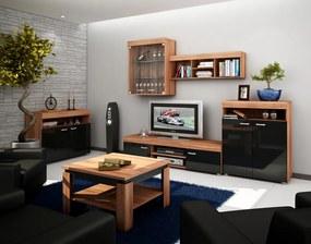 MEBLOCROSS Max obývacia izba slivka / čierny lesk