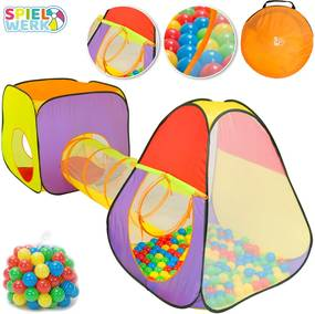 Detský hrací stan XL vrátane tunela a 200 ks loptičiek