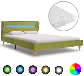 vidaXL Posteľ s LED a matracom, zelená, látka 120x200 cm
