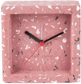KARLSSON Ružový kameninový budík Franky Tarazzo