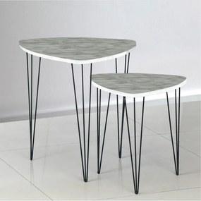 Set 2 konferenčních stolků, vzor bílý mramor / černý kov, STOFOL 0000211998 Tempo Kondela