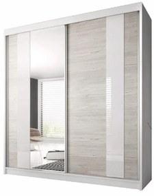 Skriňa s posúvacími dverami, dub kathult svetlý/biela, 233x218, MULTI 32