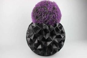 Čierny guľatý glamour kvetináč 40 cm