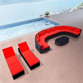 vidaXL 13-dielna záhradná sedacia súprava s vankúšmi červená polyratanová