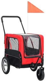 vidaXL Príves pre domáce zvieratá na bicykel/beh 2-v-1, červeno čierny