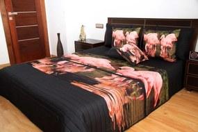DomTextilu Čierny prehoz s ružovými plameniakmi Šírka: 220 cm | Dĺžka: 240 cm 3524-103399