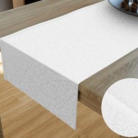 Goldea luxusný dekoračný behúň na stôl - vzor biela perokresba 20x120 cm