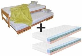 Ahorn Posteľ Duelo + 2 matrace Dara - rozkladacia posteľ s dvoma lôžkami 80 x 200 cm