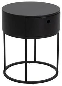 Štýlový nočný stolík Ariel oválny čierny