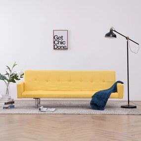 vidaXL Rozkladacia pohovka s opierkami, žltá, polyester