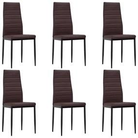 271479 vidaXL Hnedé kuchynské stoličky s úzkymi líniami 6 ks (241500 + 241501