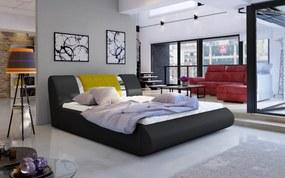 Moderní postel Flores 180x200cm, černá/žlutá