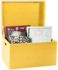 ČistéDrevo Dřevěný box s víkem 40x30x23 cm - žlutý