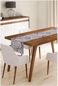 Behúň na stôl z mikrovlákna Minimalist Cushion Covers Grey Roses, 45 × 145 cm