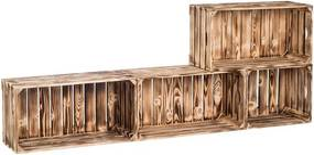 Drevobox Drevené opálené debničky obývacia stena 160x60x24 cm