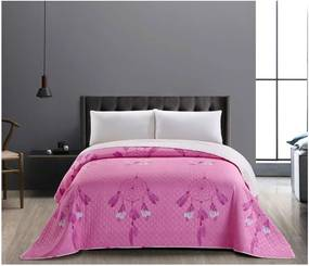 Ružovo-biely obojstranný pléd z mikrovlákna DecoKing Sweet Dreams, 200 × 220 cm
