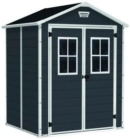 InternetovaZahrada - Záhradný domček MANOR 6x5 DD s oknami šedá + biela