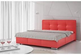 Luxusné čalúnené jednolôžko Latium s úložným priestorom červená eko koža 120 x 200