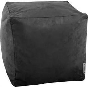 Sedací vak taburetka kocka semišová čierna EMI