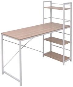 vidaXL Pracovný stôl s knižnicou so 4 radmi, dubový