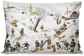 Matějovský Obliečka na vankúšik Deluxe Josef Lada Detské hry v zime, 33 x 50 cm