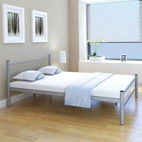 vidaXL Kovová manželská posteľ s matracom, sivá, 140x200 cm