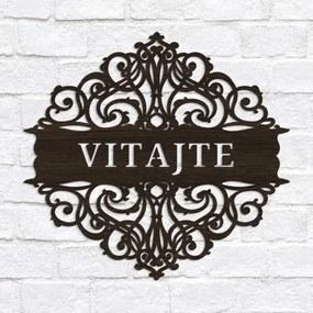 Drevená ozdoba na dvere s nápisom Vitajte