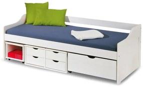 HALMAR Floro 2 90 jednolôžková posteľ s roštom a úložným priestorom biely lesk