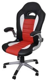 Červená kancelárska stolička z umelej kože s moderným dizajnom