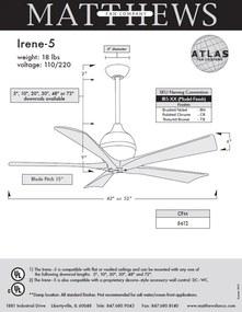 "MATTHEWS IRENE IR5-2 42"" matný nikel/orech Reverzný stropný ventilátor"