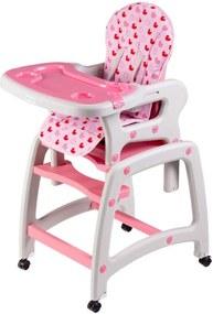 Detská jedálenská stolička 3v1 - ružová