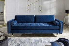 Dizajnová sedačka Adan, 225 cm, modrý zamat - Skladom na SK - RP