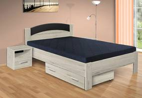 Nabytekmorava Drevená posteľ Jason 200x140 cm farba lamina: buk 381, typ úložného priestoru: bez úložného priestoru, typ matraca: bez matraca