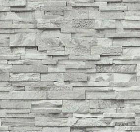 Vliesové tapety, kameň pieskovec bielo-sivý, Origin 236330, P+S International, rozmer 10,05 m x 0,53 m