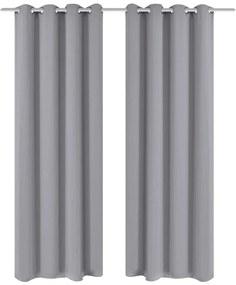 vidaXL 2 ks sivé blackout závesy s kovovými krúžkami, 135 x 245 cm