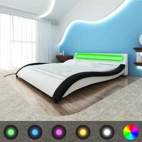 vidaXL Posteľ s matracom, biela a čierna, LED, umelá koža 180x200 cm