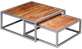 Dvojdielna sada konferenčných stolíkov, masívne akáciové drevo