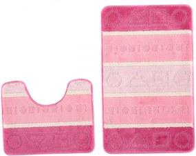Kúpeľňové predložky Tvary ružové 2 ks, Velikosti 50x80cm