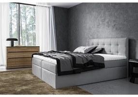 Moderné čalúnené jednolôžko Riki s úložným priestorom šedá 140 x 200 + topper zdarma