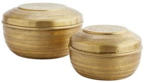 MADAM STOLTZ Guľatá hliníková krabička Carved Gold Väčšia