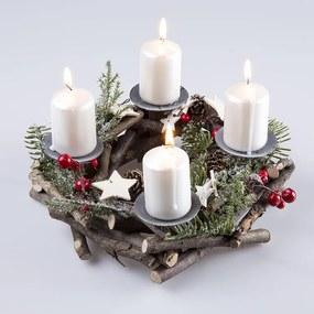 Veniec adventný z vetvičiek s držiakmi na sviečky