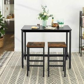 VASAGLE Barový jedálenský stôl industriálny čierny 120 x 60 cm